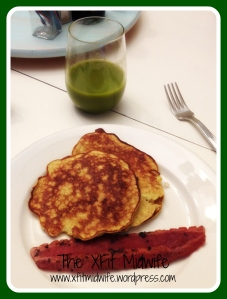 Breakfast of Yum! Fresh juice and Paleo Pancakes.