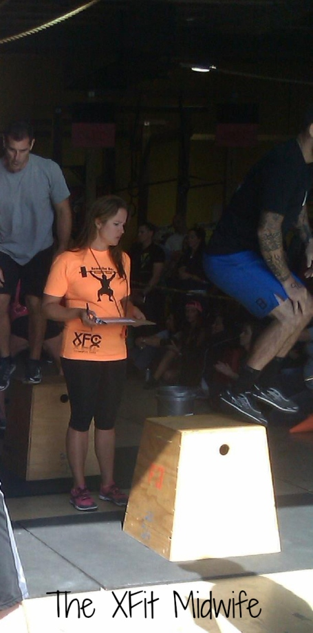 Me judging WOD 3! KB swings and Box Jump Overs. 5 mins of suck.