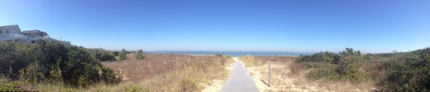 Panoramic of my view as I crest the sand dune.